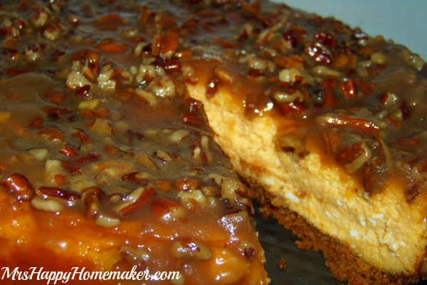 Sweet Potato Cheesecake with Caramel 'Pecan Glaze