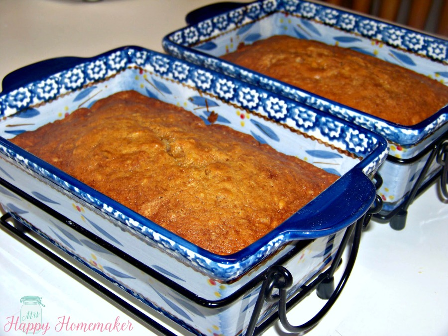 2 loaves of Sweet Potato Bread in blue loaf pans