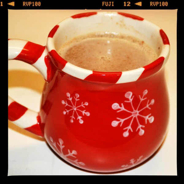 Creamy Crockpot Hot Cocoa in a red snowflake mug