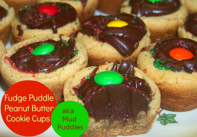 Fudge Filled Peanut Butter Cookies with a m&m on top
