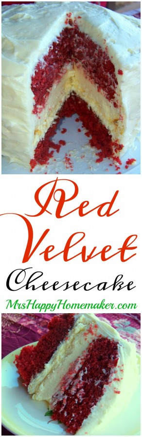 Red Velvet Cheesecake | MrsHappHomemaker.com @thathousewife #redvelvetcheesecake #redvelvet #cheesecake