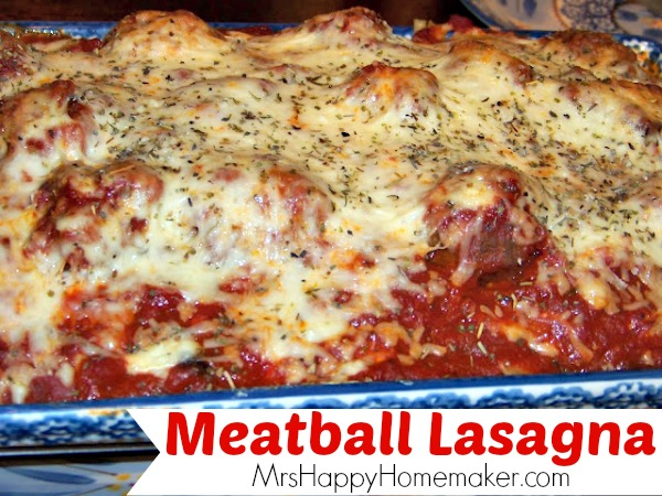 Meatball Lasagna | MrsHappyHomemaker.com