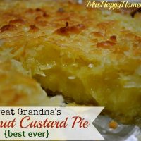 Great Grandma's Coconut Custard Pie
