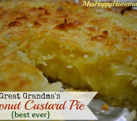 Great Grandma's Coconut Custard Pie