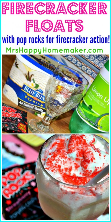 These Firecracker Floats have real popping action that kinda feels like fireworks in your mouth that's created by using Pop Rocks. You can mix and match whatever flavor of ice cream (or frozen yogurt or sherbet) with any flavor of Pop Rocks - the flavor possibilities are endless! They're SO yummy!! | MrsHappyHomemaker.com @thathousewife