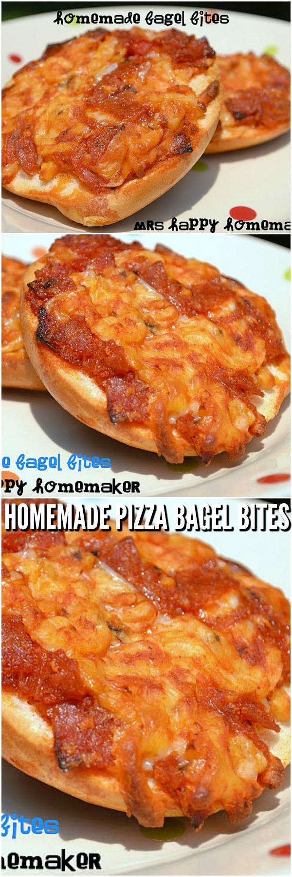 Homemade Pizza Bagel Bites | MrsHappyHomemaker.com @MrsHappyHomemaker #homemadepizzabagelbites #pizza #homemadebagelbites #freezercooking #freezermeals #mealprep