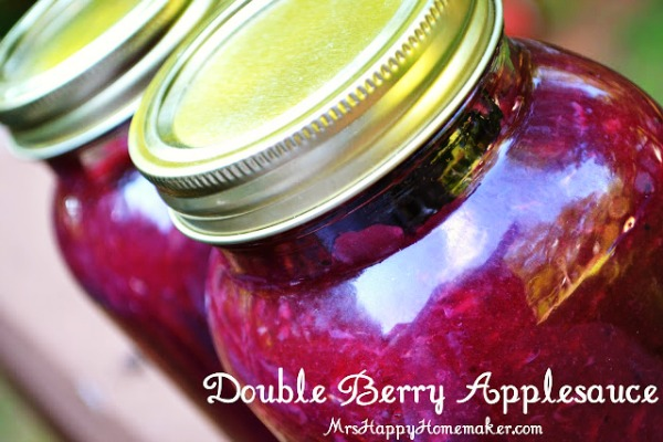 Double Berry Applesauce in Mason jars