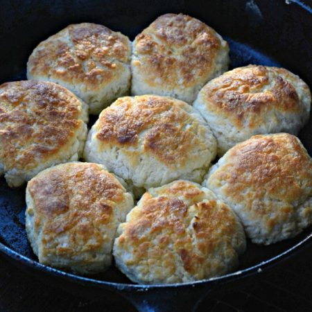 Mama's Homemade Buttermilk Biscuits in a cast iron skillet