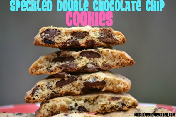 speckled double chocolate chip cookies stacked up