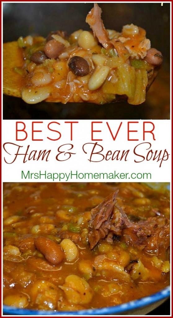 Best Ever Ham and Bean Soup | MrsHappyHomemaker.com