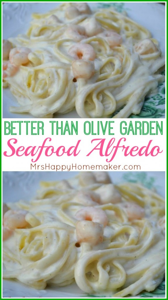 Better than Olive Garden Seafood Alfredo with pasta, homemade Alfredo sauce, shrimp and scallops