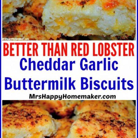 Cheddar Garlic Buttermilk Biscuits copycat Red Lobster Biscuits but better!   MrsHappyHomemaker.com @MrsHappyHomemaker