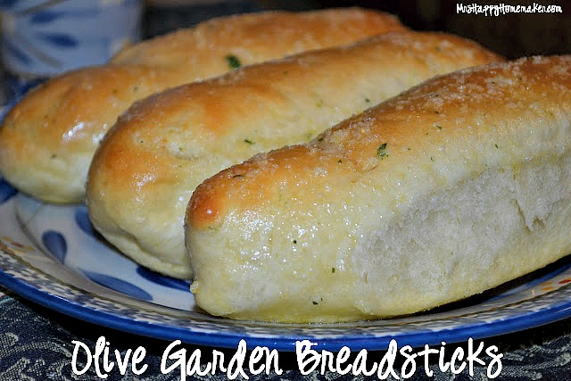 Copycat Olive Garden Breadsticks on a blue plate