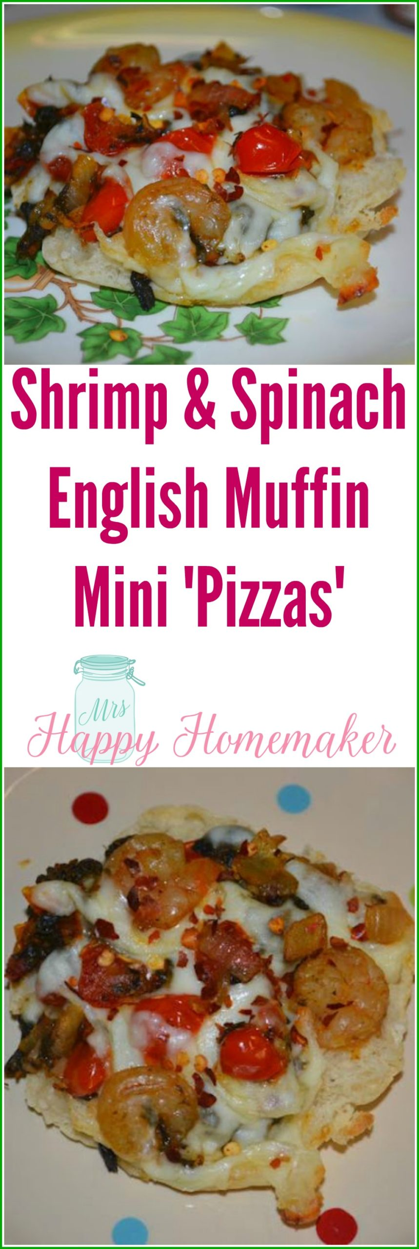 Shrimp & Spinach English Muffin Mini Pizzas - we love these low calorie miniature pizzas! They are great for an easy meal, a snack or appetizer, and the perfect Super Bowl Party food. You can switch out the proteins for other ones or leave out the meat all together for a vegetarian option.