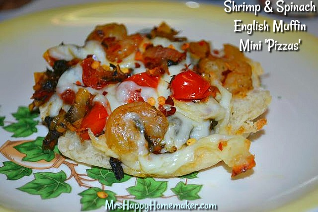 Shrimp & Spinach English Muffin Mini Pizzas