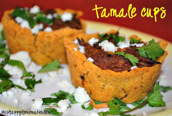 tamale cups garnished with cilantro