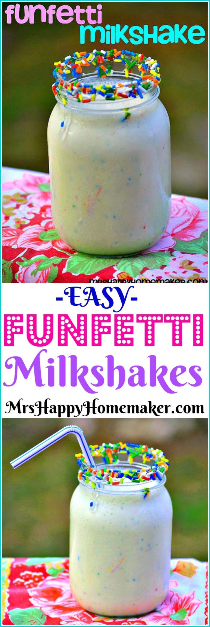 Easy Funfetti Milkshake in a mason jar | MrsHappyHomemaker.com @MrsHappyHomemaker
