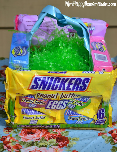 Easter basket made from candy packages