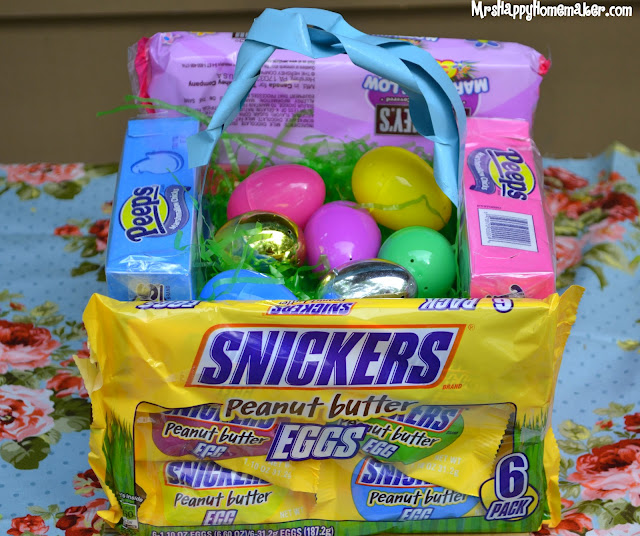 Easter baskets made from candy packages