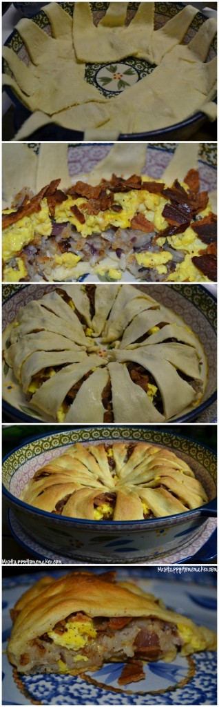 Easy Crescent Breakfast Ring with Bacon, Eggs, Cheese, & Hasbrowns