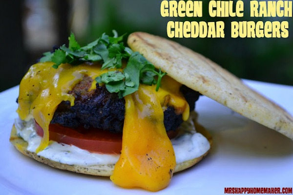 Green Chile Ranch Cheddar Burgers
