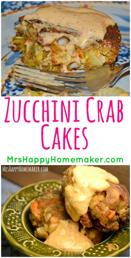 These Zucchini Crab Cakes couldn't get any easier to make or any more delicious to eat. They are a family favorite in my home! | MrsHappyHomemaker.com @MrsHappyHomemaker