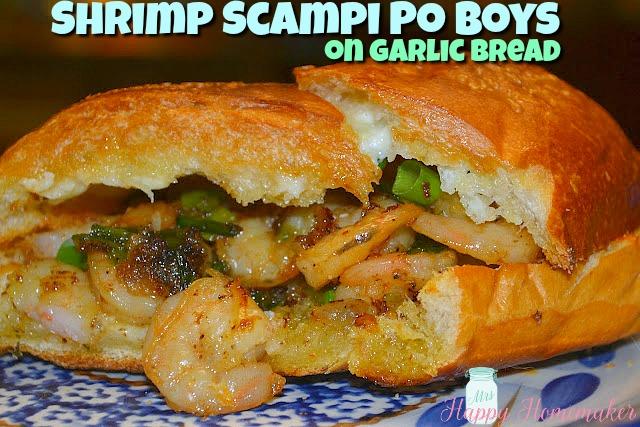 Shrimp Scampi Po Boy Sandwich on Garlic Bread