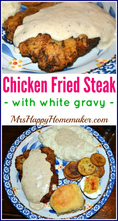 Chicken Fried Steak with White Gravy is a traditional Southern meal that I grew up on. chicken fried steak with gravy served alongside a biscuit, fried squash, deviled egg and mashed potatoes