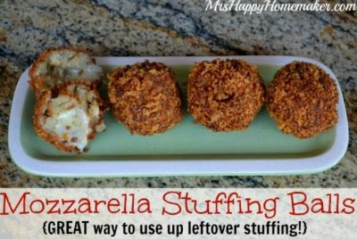Mozzarella Stuffing Balls - great way to use up leftover stuffing