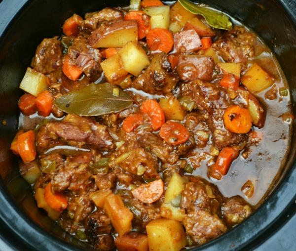 beef stew in a round crockpot