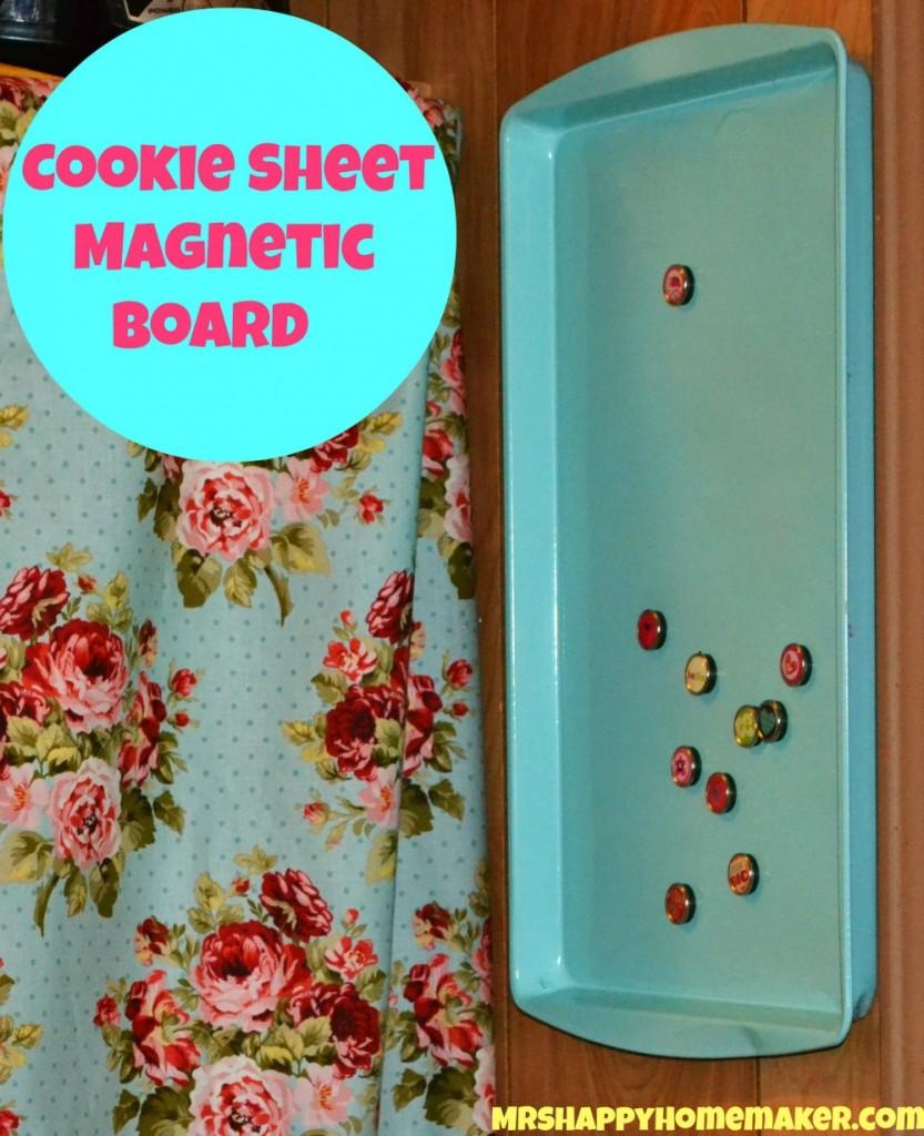 diy cookie sheet magnetic board mrs happy homemaker