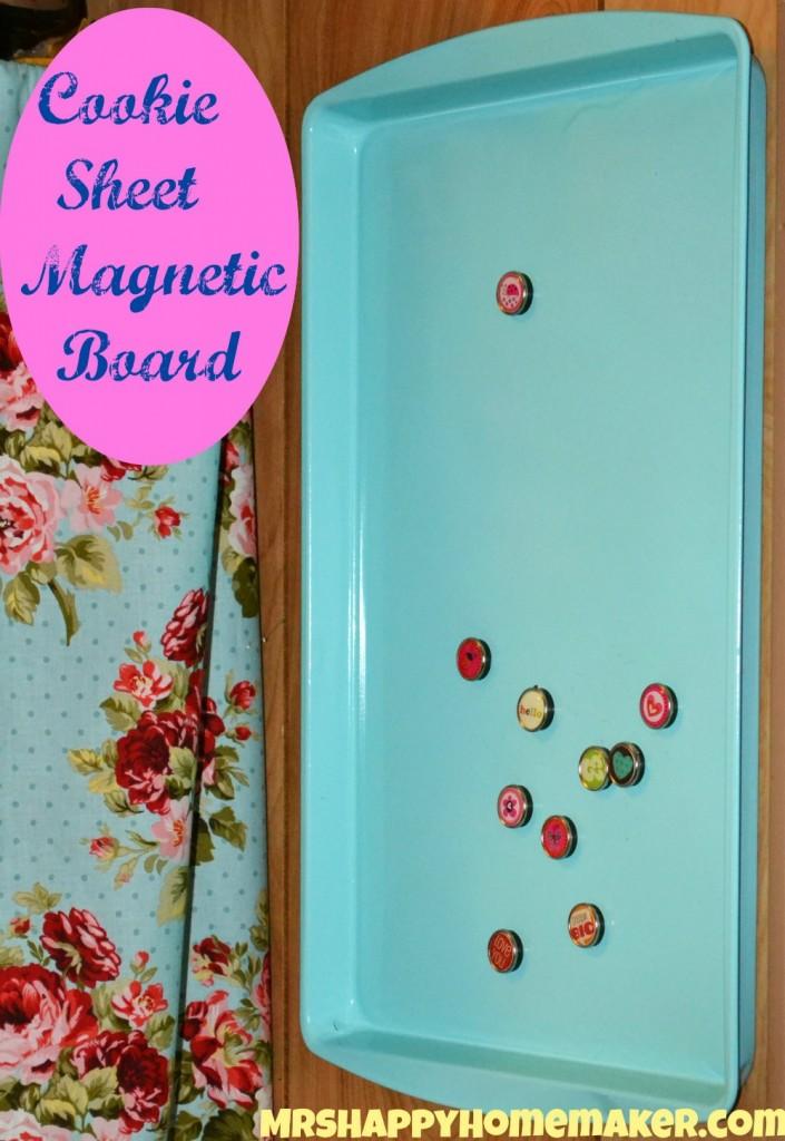 DIY Cookie Sheet Magnetic Board - Mrs Happy Homemaker