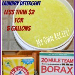 Homemade liquid laundry detergent for less than $2 for 5 gallons | MrsHappyHomemaker.com @mrshappyhomemaker