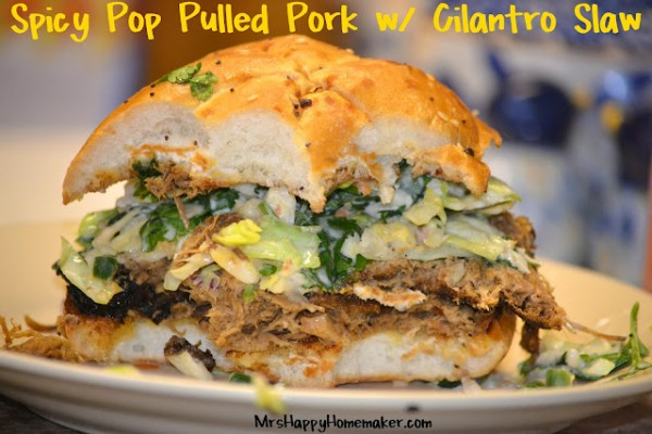 Spicy Pop Pulled Pork Sandwiches w/ Cilantro-Jalapeno Slaw - Mrs Happy ...