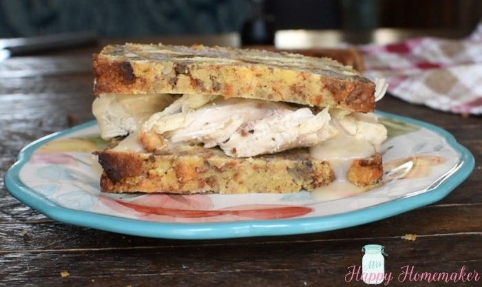 Dressing Loaf Bread - all the flavors of your favorite stuffing but baked into a bread - used on a turkey and gravy sandwich