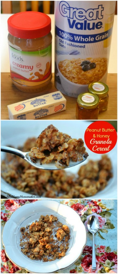 Homemade Peanut Butter Cookie Granola Cereal - healthy but tastes like cookies, and it is SO easy! | MrsHappyHomemaker.com @thathousewife