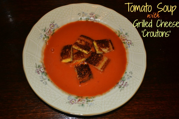 Tomato Soup with Grilled Cheese Croutons - Mrs Happy Homemaker