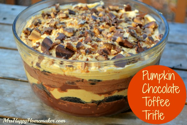 Pumpkin, Chocolate, & Toffee Trifle - you may question this combination at first, but after one bite - you'll be coming back to thank me for turning you on to this phenomenal recipe. Oh my word y'all, it's delish! | MrsHappyHomemaker.com @thathousewife