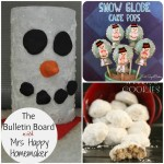 Snowman Candle Holders, Snow Globe Cake Pops, & Mexican Wedding Cookies