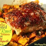 Garlic Roasted Pork Roast & Sweet Potatoes with Raspberry Chipotle Glaze