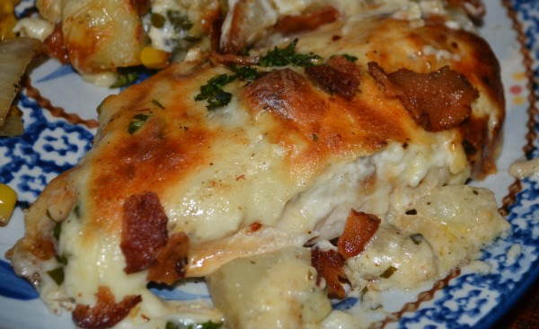 Roasted Garlic Asiago Chicken & Potatoes - this is ridiculously good!