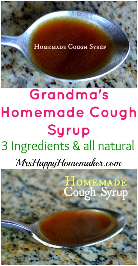 My Grandma's 3-Ingredient Homemade Cough Syrup recipe, perfect for cold season! I love this natural cold remedy! | MrsHappyHomemaker.com @thathousewife #homemadecoughsyrup #homemade #natural