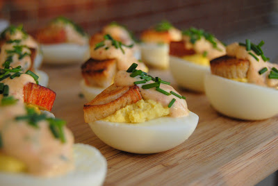 Crab & Chipotle Aioli Deviled Eggs