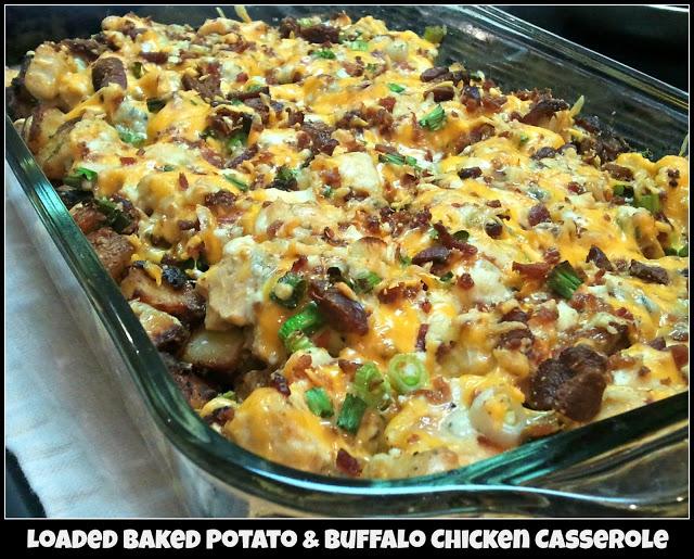 Loaded Baked Potato & Buffalo Chicken Casserole