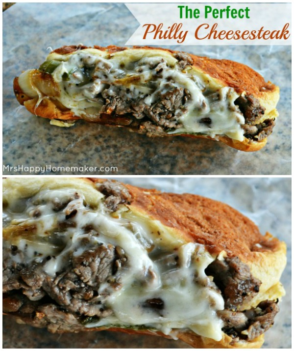 My Favorite Philly Cheesesteak Sandwich with lots of melty cheese and thinly sliced ribeye steak, onions, peppers, and mushrooms