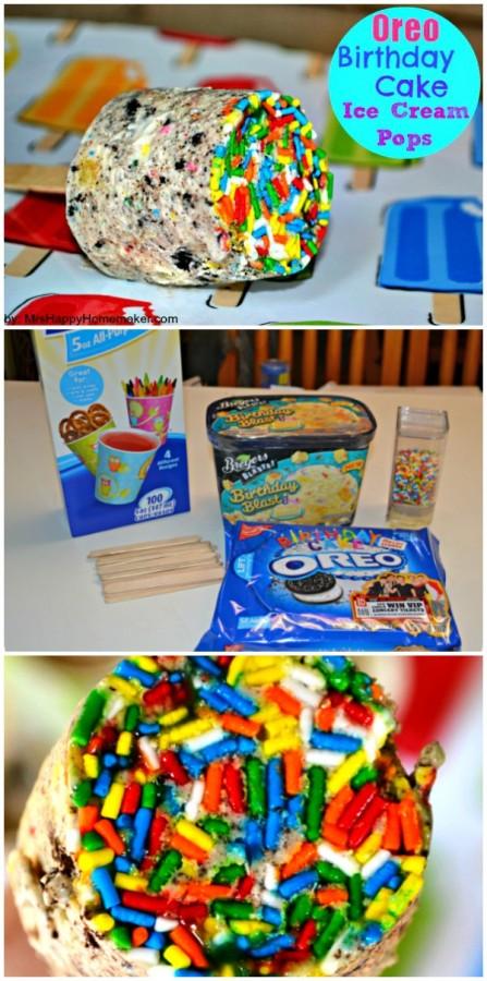 Oreo Birthday Cake Ice Cream Pops