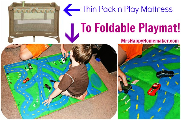 Turn an old Pack n Play mattress into a Foldable Play Mat!!