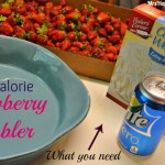 Low Calorie Strawberry Cobbler with a diet soda