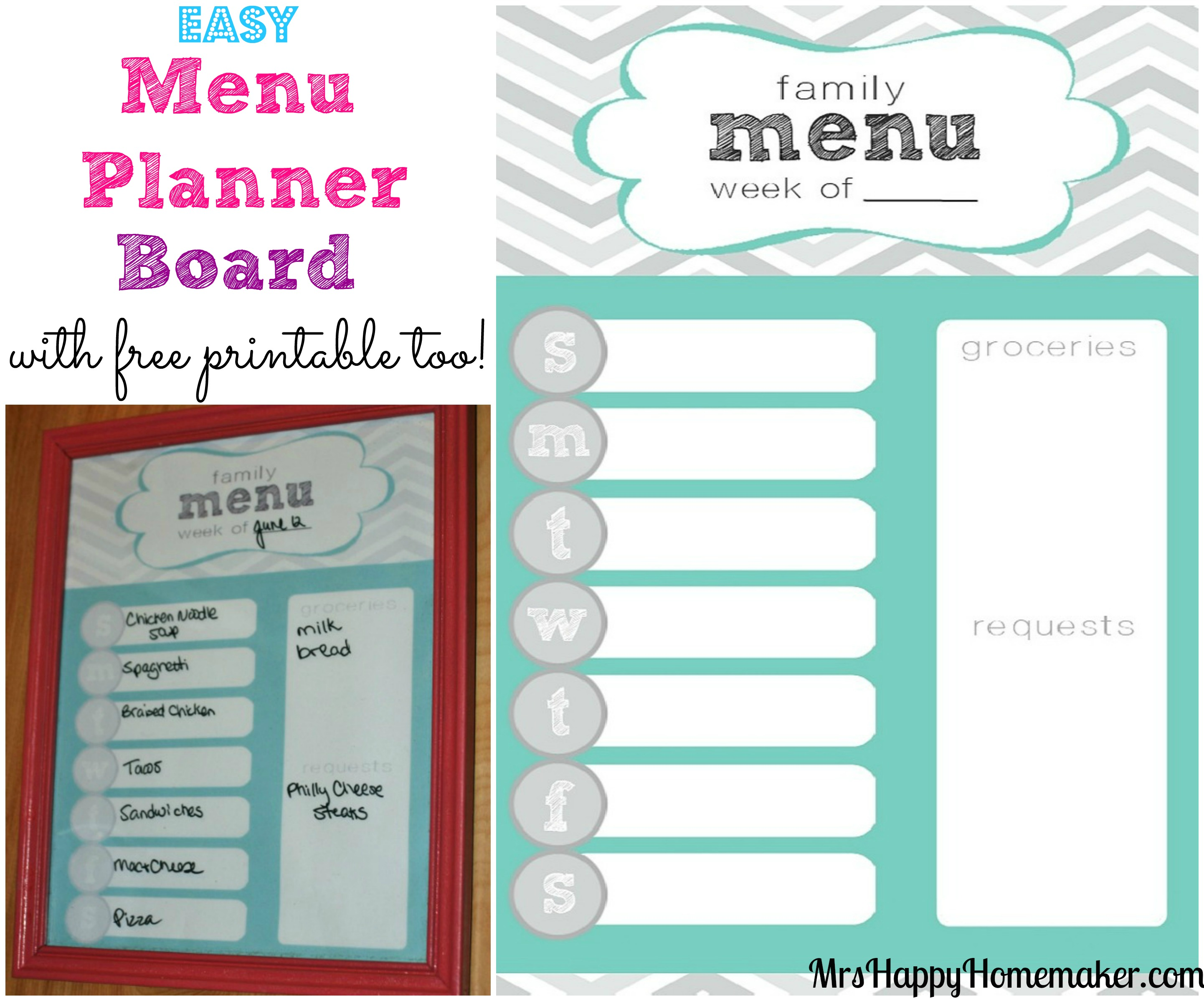 easy menu planner board mrs happy homemaker