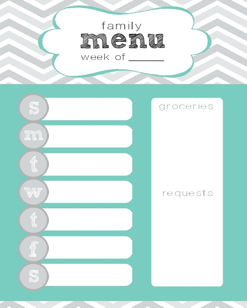 Keep track of what you're going to be eating with this easy menu ...